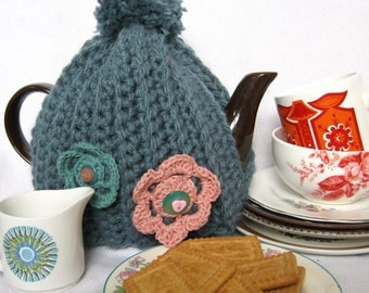 Crochet Pattern for Chunky Tea Cosy with Flowers PDF