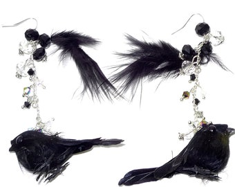 Black Bird and Feather Earrings  Goth       Halloween    Cosplay   under 20
