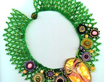 Picasso Face Beadwoven Floral Collar. Statement Necklace. Agate, amethyst, coral, peridot gemstone - Secret Garden by enchantedbeads on Etsy