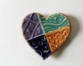 Heart Shaped Ring Dish, Colorful Pottery,  Patchwork quilt pattern