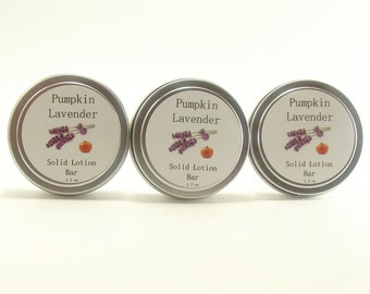 Pumpkin Lavender Lotion Solid Bar, Organic Shea Butter Balm,  Hand Salve, Foot Balm, Cuticle Cream, Hostess Gift, Spa, Wedding Favor
