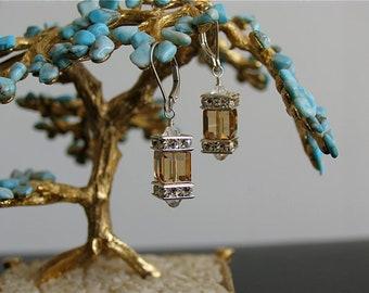 Swarovski Crystal cube earrings - Topaz