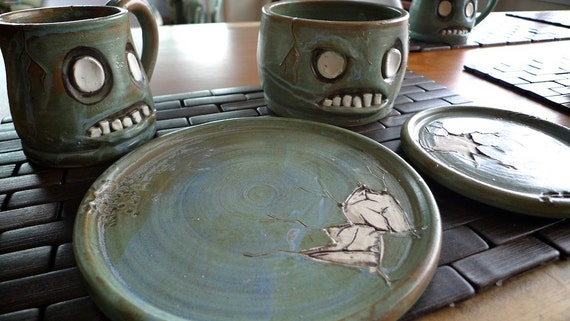 Hand thrown stoneware Zombie Place Setting