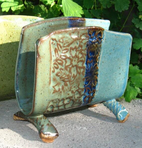 Napkin/Letter Holder - Rutile Blue/Turquoise