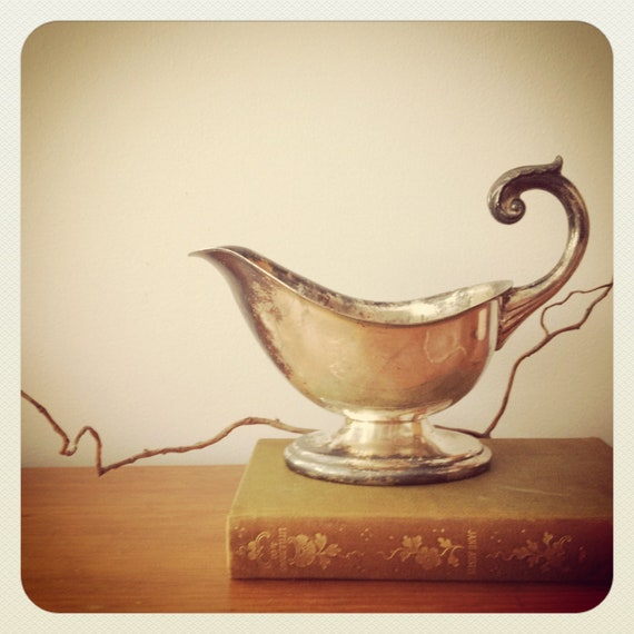 Silver Gravy Boat Vintage Silver Plate Patina