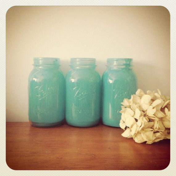Blue Mason Jar Ball - Vases Patio Decor - Shabby Chic - Country Chic