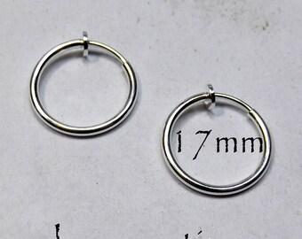 Hoop Earrings 17mm Non-Pierced Silver Plated Brass - 1 pair