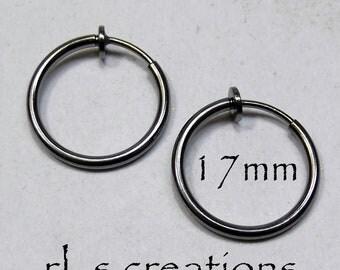 Hoop Earrings 17mm Non-Pierced Gunmetal Plated Brass - 1 pair