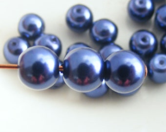6mm Glass Pearl Beads Round Navy Blue (Qty 25) Z-6P-NB