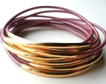 Leather Bracelet - Leather Bangle - Cyclamen Bangle -  Leather Bracelet - Boho Bracelet - Boho Leather Bracelet - Boho Stackable Bracelets