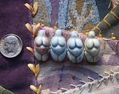 4 Large Porcelain Ceramic Raku Goddess Beads