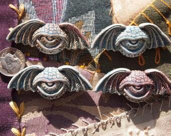 4 Porcelain Ceramic Raku Winged Eye Pendant Bead