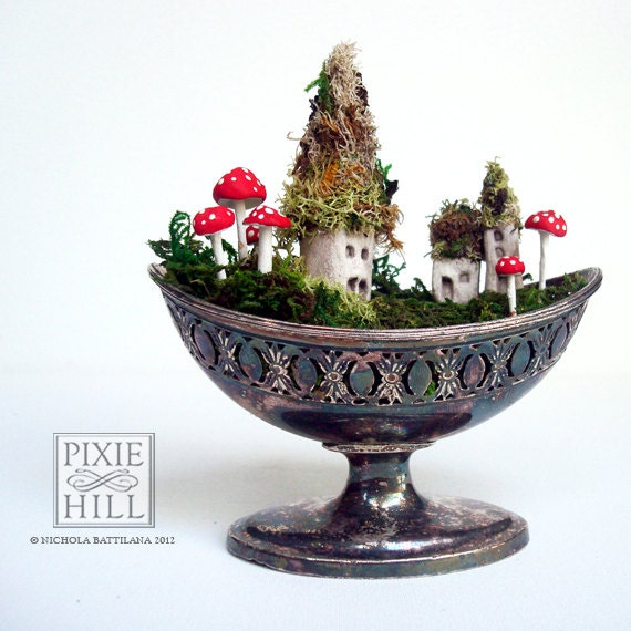 Tiny Fairy Town in a Tarnished Dish