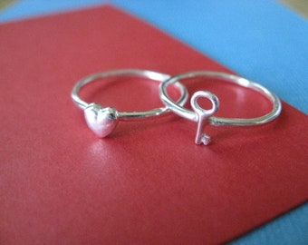 Heart and Key Stacking Rings Sterling Silver