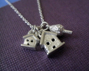 Charm Necklace Double House and Tree Sterling Silver