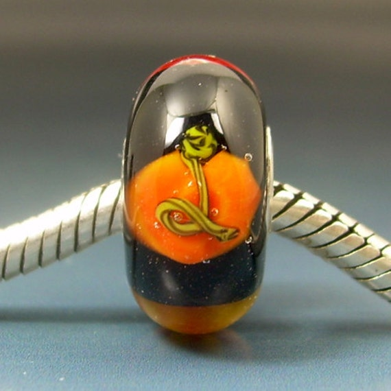 Pumpkin Fall Leaves European Charm Big Hole Bead Handmade Lampwork Glass BHB sra Gelly