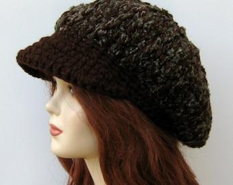 Newsboy cap, Brown boucle Cap Visor Tam Hat Hippie Slouchy Newsboy Beanie Billed