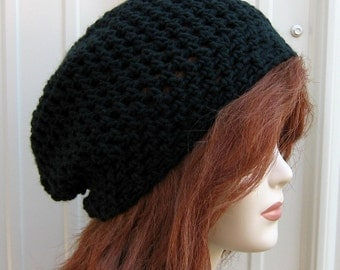 Little slouchy hat, Black small Hippie Dread slouchy beanie short snood Tam beanie hat