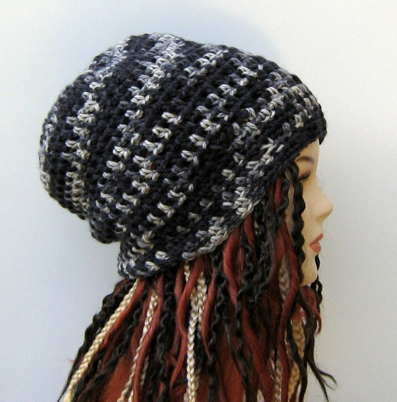 Pure Natural Wool Hippie Dread Tam slouchy Beanie Hat gray charcoal