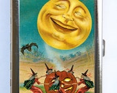 Moon Witches Cigarette Case Wallet Business Card Holder halloween victorian retro