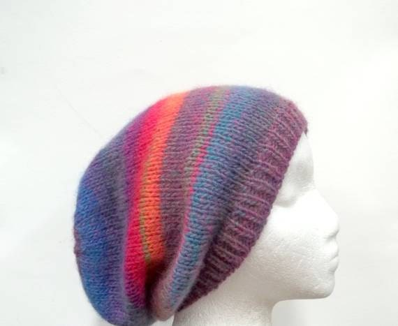 Beanie Beret Slouch Colorful wool blend knitted Hat  size large  4460