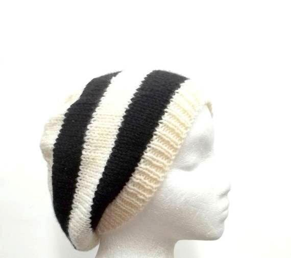 Knit beanie Slouch Black White Stripes Hat wool Beret size medium 4505