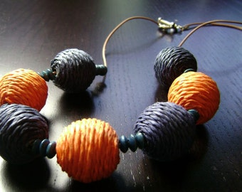 Boho Game Day Raffia Bead Necklace on Leather Cord in Orange and Navy Blue
