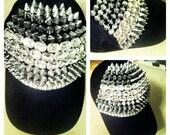 Black Hat with Gemstones and Spikes by Godda Godda/SpikeHat/StuddedHat/BlackHat/BaseballCap/Punk/Rock/HipHop/WomenFashion/MenFashion/Silver