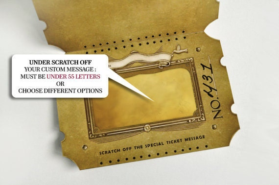 Custom Golden Ticket Scratch Off Card