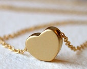 Tiny Floating Heart Necklace in Gold GIFTS FOR HER. Jewelry.