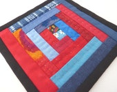 Mini Mug Quilt - Patchwork Coaster in Shades of Red and Blue