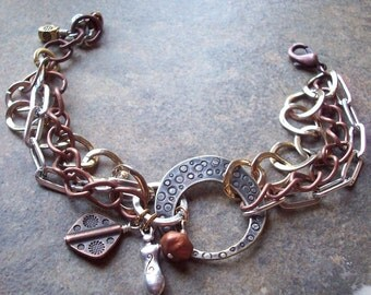 Mixed Chains, Metal and Charm Bracelet