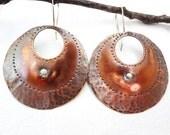 """Reclaimed Copper """"Leather"""" Distress Hoop Earrings"""