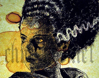 "Print 8x10"" - The Bride - Portrait Frankenstein Dracula Classic Monster Horror Halloween Pop Gothic Coffee Vintage Dark Art Lowbrow"
