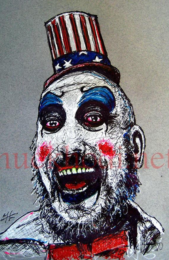 "Print 11x17"" - Capt. Spaulding  - Captain Spaulding Rob Zombie Sid Haig Bill Moseley Clown Serial Killer Corpse Horror Zombie Halloween"