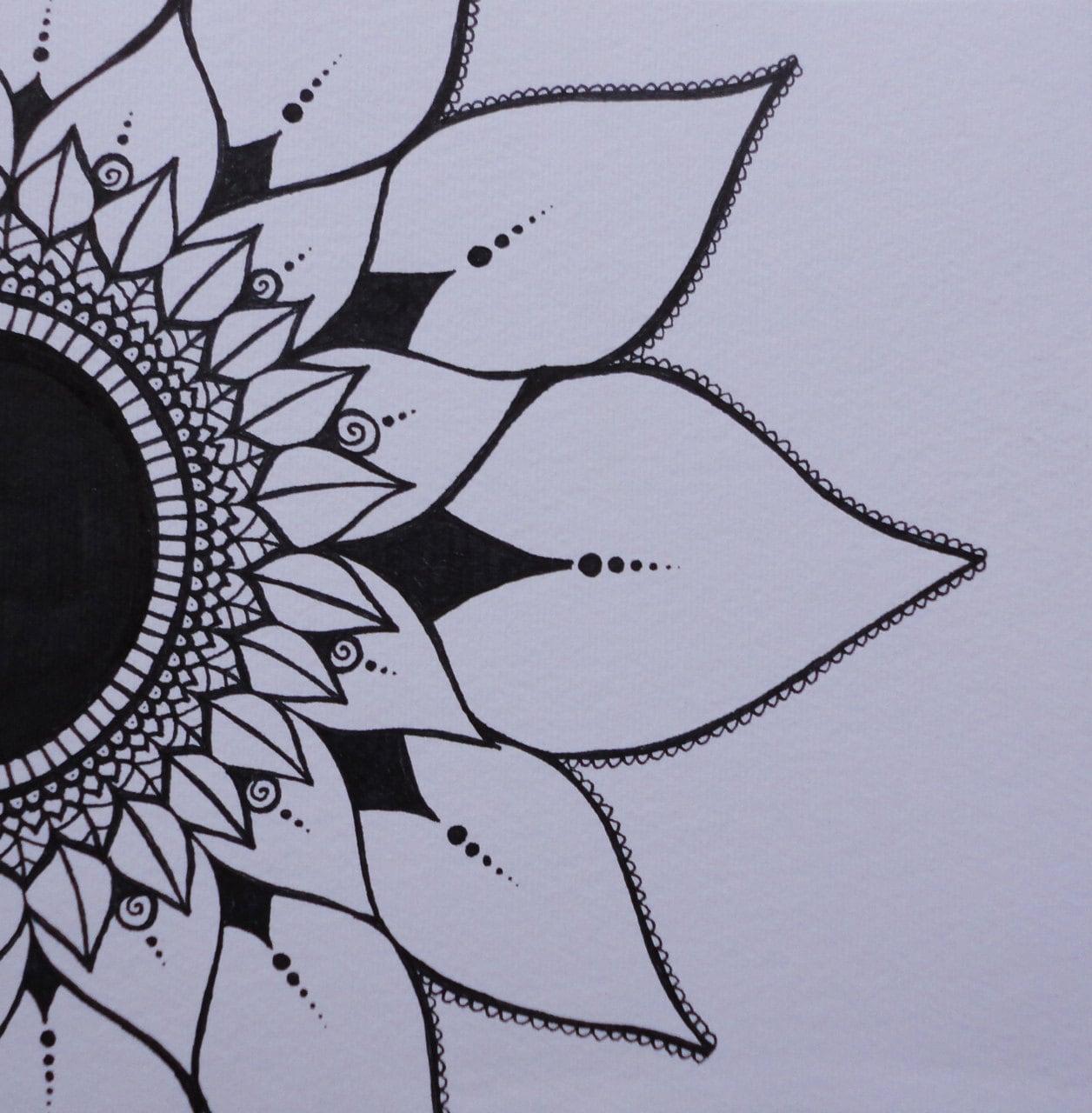 Sunflower Henna Tattoo: Mendhi Sunflower Black & White Ink Original