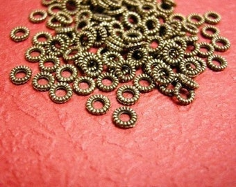 300pcs 4mm Antique Bronze Rope Metal Bead Spacer-2868x3