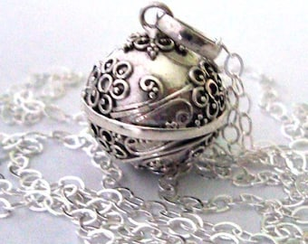 """16mm Flower Mexican Bola Sterling Silver Maternity Pregnancy Harmony ball Chime Necklace 36"""" chain CN2"""