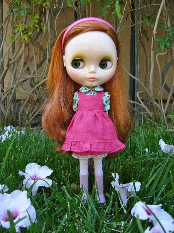 Hot Pink and Turquoise Pinafore Set for Blythe