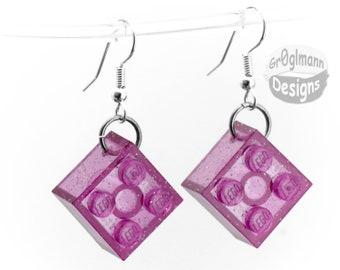 Dangle Earrings Purple Glitter - made with LEGO bricks