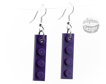 Purple LEGO Dangle Earrings
