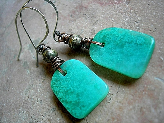 Hand Cut Stone Tab Earrings, Gem Silica, Blue Green Gemstone, Oxidized Copper