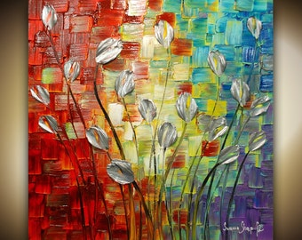 ORIGINAL Large Abstract Silver Tulip Flowers Painting Landscape Heavy Texured Modern Multicolored Painting by Susanna Ready to Hang 30x30