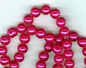 8mm Dark Pink Fuchsia Glass Pearl Round Beads