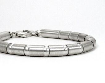 Sterling Silver Tube & Bead Link Bracelet - Poignant