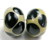 Lampwork Bead Pair Taupe With Black Dots Handmade Glass Beads
