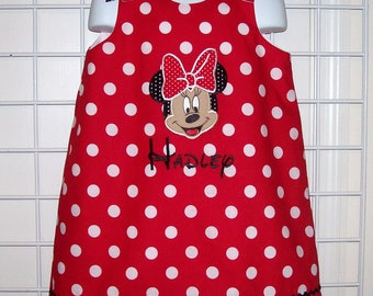 Red Minnie Dot Minnie Mouse Face Applique Monogram A-line Dress - Red Minnie jumper dress - Minnie Mouse birthday party dress - vacation