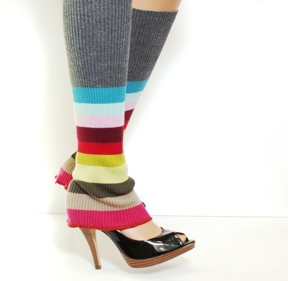Repurposed Upcycled Leg Warmers Recycled Sweater Multi Color Rainbow Stripes