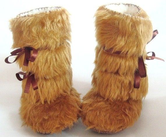 As seen on The Ultimate Baby Shower Gift by Cool Mom Pick Fur Baby Boots Beige Baby Shoes Faux Fur Baby Booties Baby Photo Prop Mukluk Style