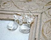 Bridal Earrings, Freshwater Pearl Cluster Earrings, Swarovski Briolette Bridal Jewelry, Swarovski Crystal Wedding Jewelry